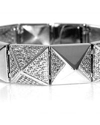 Noir Jewelry - Metallic Pave Metal Pyramid Stud Bracelet - Lyst