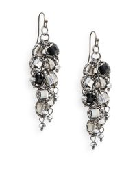 Saks Fifth Avenue | Metallic Textural Multi-stone Drop Earrings/silvertone | Lyst
