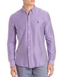 Polo Ralph Lauren - Purple Striped Cotton Sportshirt for Men - Lyst