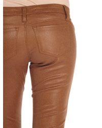 Tractr | Brown Crackle Coated Suede Skinny | Lyst