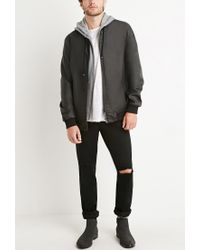 Forever 21 Black Faux Leather Hooded Jacket for men