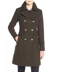 Vince Camuto | Green Wool Blend Double Breasted Officer's Coat | Lyst