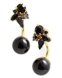 kate spade new york | Black 'dainty Sparklers' Drop Back Earrings - Jet Multi | Lyst