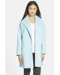 Helene Berman - Blue Wool Blend Clutch Coat - Lyst