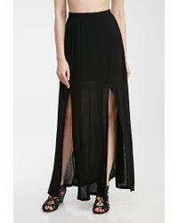 f1bd828d5c9 Forever 21 M-Slit Maxi Skirt in Black - Lyst