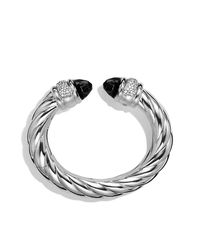 David Yurman | Black Waverly Bracelet With Diamonds, 25mm | Lyst