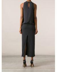 Brunello Cucinelli - Gray Slit Dress - Lyst