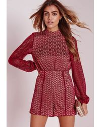 Missguided | Purple Ladder Detail Lace High Neck Romper Oxblood | Lyst