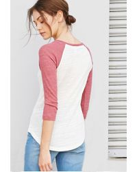 Forever 21 | Natural Slub Knit Baseball Tee | Lyst