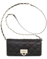 DKNY - Black Gansevoort Quilted Nappa Leather Wallet Clutch With Chain - Lyst