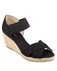 Nine West | Black Renu Espadrille Wedge Sandals | Lyst