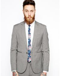 ASOS Blue Chambray Tie with Floral Print for men