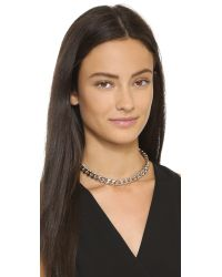 Gemma Redux | Metallic Chain Choker Necklace - Rhodium | Lyst
