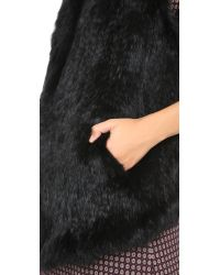 June | Fur Vest - Black | Lyst