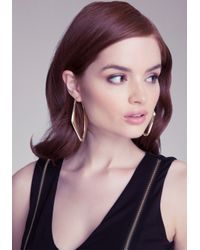 Bebe - Metallic Angular Hoop Earrings - Lyst