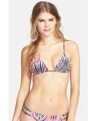 Volcom - Black 'wild Marks' Triangle Bikini Top - Lyst