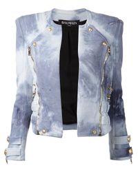 Balmain | Blue Bleach-Effect Biker Jacket | Lyst
