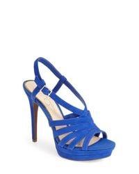 Jessica Simpson | Blue 'Peace' Suede Peep Toe Platform Sandal | Lyst