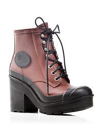 HUNTER - Pink Original Bullseye Lace Up Block Heel Booties - Bloomingdale'S Exclusive - Lyst