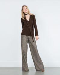 Zara | Brown Cashmere Sweater | Lyst