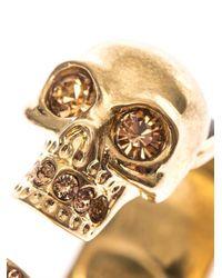Alexander McQueen - Black Double Skull Bangle - Lyst
