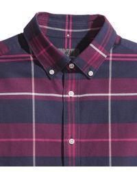 H&M Purple Shirt In Premium Cotton for men