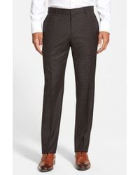 BOSS - Gray 'genesis' Flat Front Check Wool Trousers for Men - Lyst