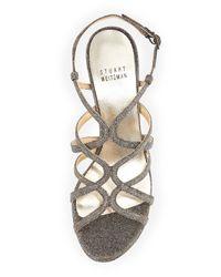 Stuart Weitzman | Gray Turningup Strappy Glitter Sandal | Lyst
