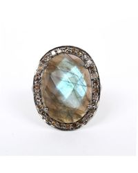 Adornia | Gray Gemstone And Champagne Diamond Perry Ring | Lyst