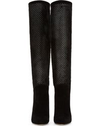 Brian Atwood   Black Perforated Calfhair Suede Neda Boot   Lyst
