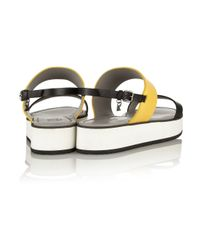 Karl Lagerfeld Yellow Color-Block Matte-Leather Sandals