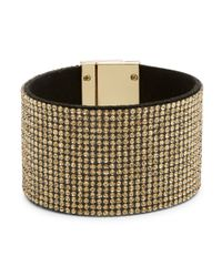 R.j. Graziano | Metallic Wide Embellished Cuff Bracelet | Lyst