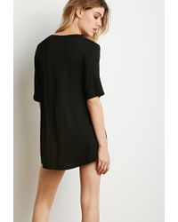 Forever 21 - Black Classic Longline Tee - Lyst