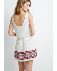 Forever 21 - White Embroidered Gauze Layered Dress - Lyst