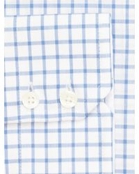 Paul Costelloe Blue Window Check Long Sleeve Shirt for men