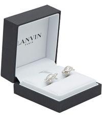 Lanvin Metallic Silver-Tone Turtle Cufflinks for men