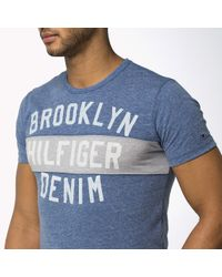 Tommy Hilfiger - Blue Cotton Blend Crew Neck T-shirt for Men - Lyst
