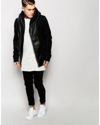 ASOS | Black Hooded Jacket With Leather Look Trim for Men | Lyst