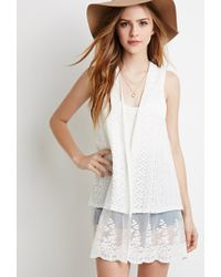 Forever 21 - Natural Embroidered Lace Mesh-paneled Vest - Lyst