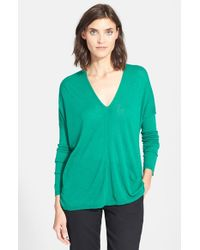 VINCE | Green Double V-neck Sweater | Lyst