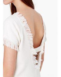 Mango - White Textured Cotton Dress - Lyst