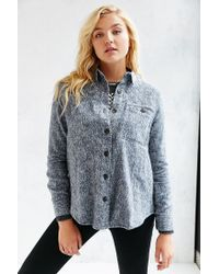 BDG Gray Oversized Western Sherpa Black Denim Jacket