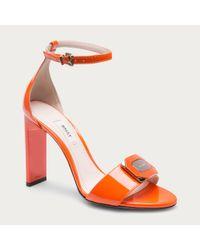Bally Paranea Women ́s Patent Leather Sandal In Blaze Orange