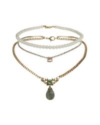 TOPSHOP - Green Choker And Rhinestone Necklace - Lyst