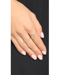 Shashi Metallic Crescent Moon Ring - Gold/clear