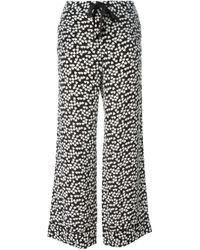 Equipment | Black Hadley Leopard-print Washed-silk Straight-leg Pants | Lyst