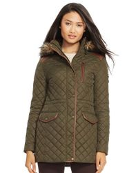 Lauren by Ralph Lauren | Black Faux Leather Trim Quilted Anorak With Detachable Faux Fur Trim Hood | Lyst