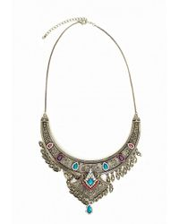 Missguided | Metallic Beaded Festival Collar Antique Silver | Lyst