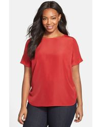 MICHAEL Michael Kors | Red Woven Tee | Lyst