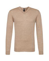 BOSS Natural 't-dan' | Italian Silk Wool V-neck Sweater for men